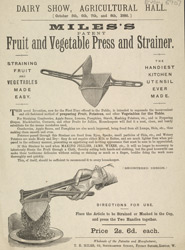Advert For Miles's Fruit & Vegatable Press & Strainer